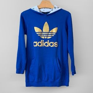 Adidas Hoodie Blue with Gold Trefoil Logo size XL